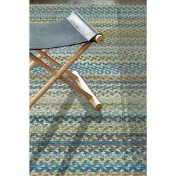 Capel Rugs Kill Devil Hill Wool Country Braided Rectangle Rug Natural Blue 410