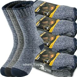 3-12 Pair Mens Winter Thermal Warm Heavy Duty Cotton Crew Work Boots Socks 9-13