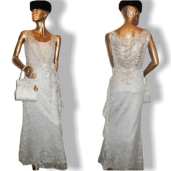 Christian Dior Boutique Retro Laces Evening Gown And Matching Bag Sz38