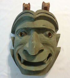 Large Old Blue Devil With Dogs Figural Carved Wood Mask Pacific Polynesian