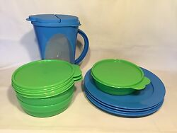 Tupperware Impressions Outdoor Dining Set Pitcher Plates Bowls Blue Green