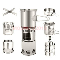 Portable Camping Stove Wood Burning Stove And Cooking Pot Set Tableware Cookware