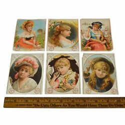 Antique Advertising Trade Card Lot Of 6 New Haven Nails Victorian Portraits Nh