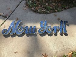 Vintage Metal New York In Script Sign4ft 9andrdquox 13inch Tall2andrdquothick5lbs
