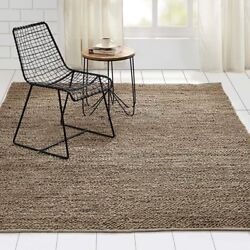 Minneka Country Farmhouse Hand Woven Jute Silver Gray Color Area Rug Loop Carpet