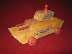 Cass Toys 1940s Wooden Pull Toy Gen. Grant U.s. Army 223s Tank Div. Made In Usa