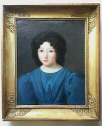 19th Century Fench Oil Painting Romantic Empire Portrait Young Lady Circa 1820