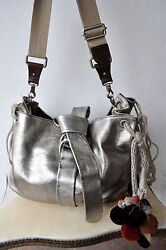 MARNI Large Metallic SilverPewter Leather Hobo Bag Uber Rare Design Sold Out!