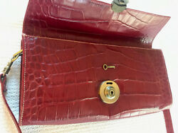 Michael Rome Designs Red Croco Embossed Leather Shoulder Bag Purse Crossbody