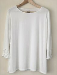 Chicos Travelers White Pleated Button Detail 3/4 Sleeves Tunic Top Large Size 2