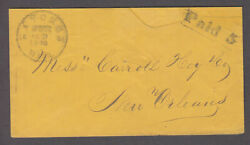Confederate Cover Natchez Miss Paid 5 Box Type C Miss Carroll Hoy New Orleans