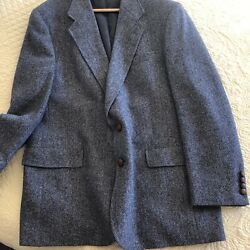 Hart Schaffner And Marv For Dillards Suit Coat Herringbone W Leather Covered Buton