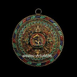 Red Copper Inlay lapis lazuli Amitayus buddha Mandala Mahamandala Shrines Niche