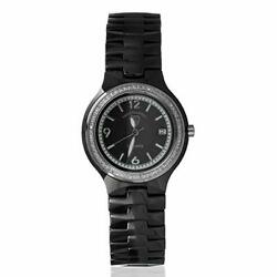 Swiss Tradition Women#x27;s Ceramic Black Band Mother of Pearl Dial Crystal Watch