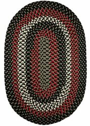 Manhattan Durable Country Cottage Home Classic Braided Rug Black Satin Ma84