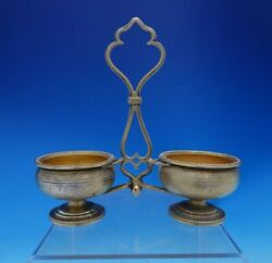 French .950 Silver Master Salt Caddy With Two Vermeil Bowls Cast Handle 3907