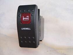 Livewell Pump Switch Bait Fish Boat Carling V1d1 1 Red Lens Black Contura Ii