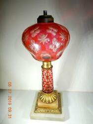 Rare Antique Sandwich Glass Oil Lamp Cranberry Cut To Clear Marble Base 14 H.