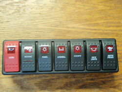 Switch Panel Carling Boat Dash 7 Switches Lighted Black Red Lens Contura Vme
