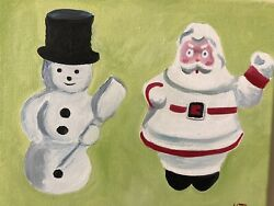Santa And Snowman Christmas Gift Oil Painting Art Paper Mache Toys Vintage 1940s