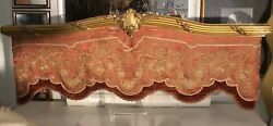 Antique Valance Giltwood French Pink Silk Damask Fabric Velvet Pick Up Only