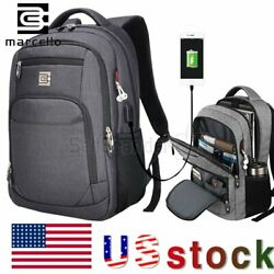 MARCELLO Laptop Backpack Business Travel USB Charging Port College School Bag
