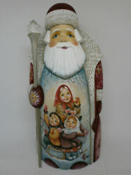 Santa Claus Christmas Gifts Sack Kids Carved Hand Painted Russian Ded Moroz