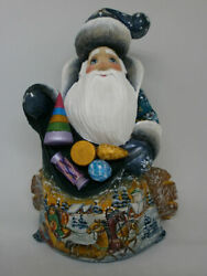 Santa Claus Christmas Gifts Sack Toys Sitting Log Hand Painted Russian Ded Moroz