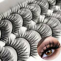 10 Pairs Thick False Eyelashes Black Terrier Cross Exaggerated Smoke Makeup j