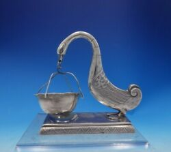 .900 Silver Tea Strainer Figural Goose And Basket Hanoi Vietnam 4 3/4 3953