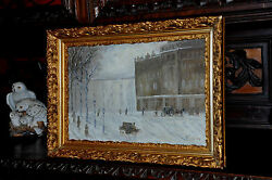 Old Impressionistic Horseless Carriage Inner City Painting Very Lovely
