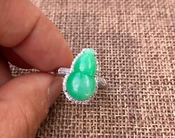 Certified Grade A Jadeite Apple Green Calabash Ring 18k White Gold And Diamond