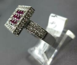 Estate Large 1.51ct Diamond And Aaa Ruby 18k White Gold 3d Classic Square Fun Ring