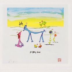Rare Limited Edition Signed (by Yoko) Art of John Lennon: Puppy Love