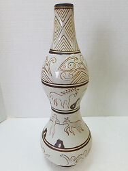 Formalities Vase Ethnic Collection By Baum Bros. African Decor Horses People 17
