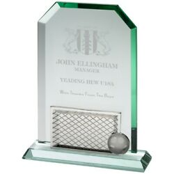 Stunning Football 10mm Glass And Metal Sport Tournament Event Trophy- Free Case