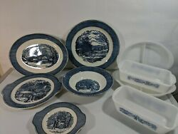 Currier and ives royal china blue Serving Plates Bowls Please READ Description!
