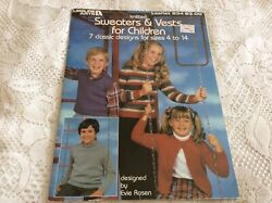 1982 Leisure Arts Leaflet 234 Knitted Sweaters And Vests For Children Patterns