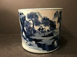Antique Chinese Blue And White Brush Pen Pot Qing Period
