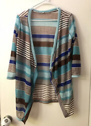 Women's Large Striped Open Front Light Cardigan: Brown Blue White
