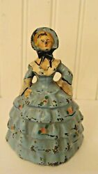 Antique Cast Iron Woman Doorstop Southern Belle Figurine 4.6 Tall And 3.4 Pounds