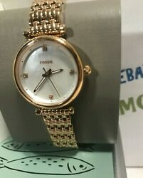 Fossil Women#x27;s 29 mm CARLIE MINI THREE HAND ROSE GOLD TONE Watch ES4429 NEW $53.97
