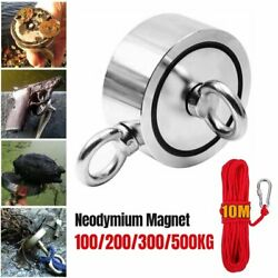 1100lbs Double Sided Super Strong Sea Fishing Pulling Force Magnet W/ 10m Rope