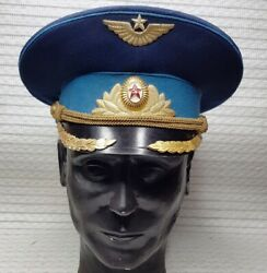 Vintage 1950s Soviet Russian Officerand039s Cap Hat Military Army Ussr-size 56 Pilot