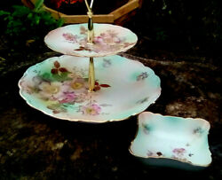 Victorian Tier Schumann Arzberg 13 Serving Plate Wild Rose And Candy Bowl Set 2