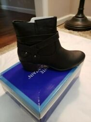 White Mountain Black Boots Size 9-12 M Strapped design on side.. Side Zip