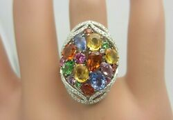 Effy Watercolors 14k White Gold Multi Color Sapphire And Diamond Ring