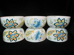 Maxcera Blue Vanilla Chintz 6 Soup Cereal Bowls Floral And Leaves On Cream