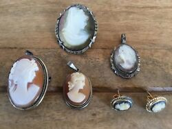 Vintage Cameo Brooch Pendant Earring Lot Mother Of Pearl And Shell