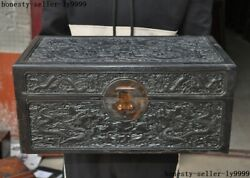 Antique Old Chinese Rosewood Wood Dynasty Dragon Jewelry Box Storage Box Boxes